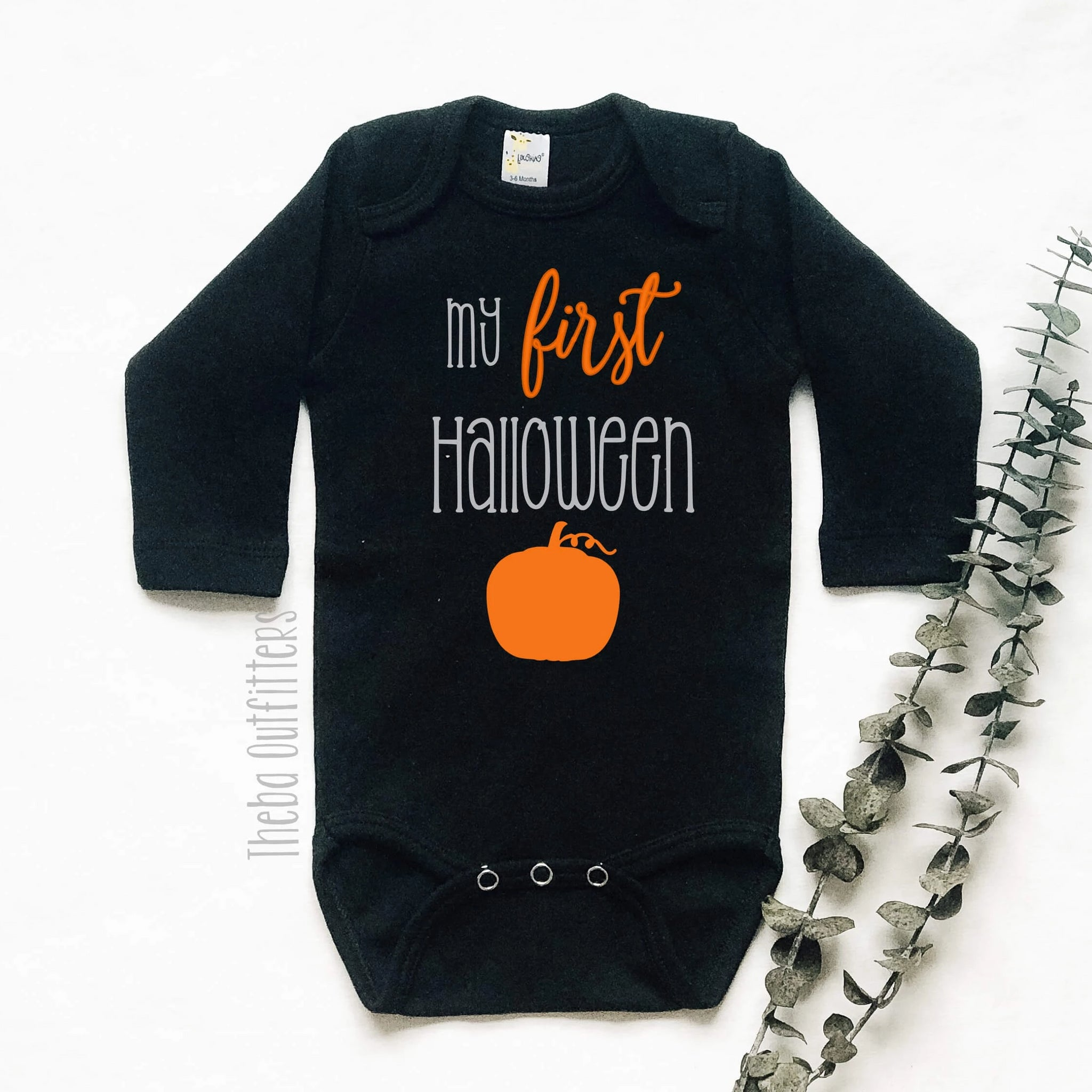 My First Halloween Onesie Tee Shirt Pumpkin Bodysuit Infant Baby Toddler Theba Outfitters