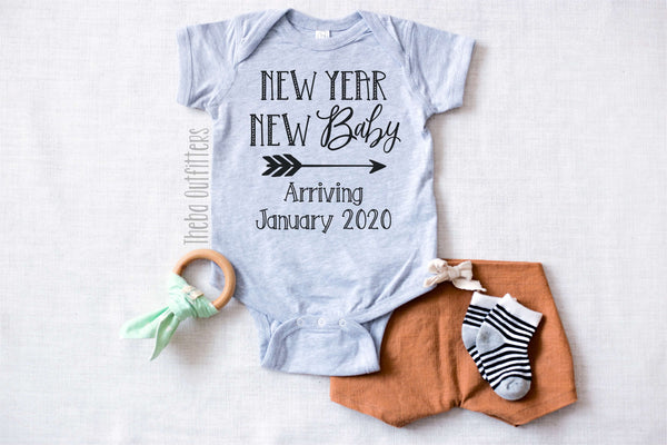 'New Year New Baby' Pregnancy Announcement Onesie Bodysuit Newborn Infant Theba Outfitters