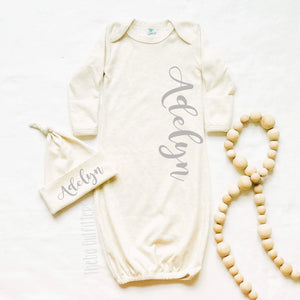 Baby Girl Coming Home Outfit Newborn Gown Knotted Hat Name Theba Outfitters