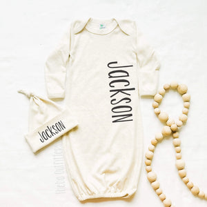Baby Boy Coming Home Outfit Newborn Gown Knotted Hat Name Theba Outfitters