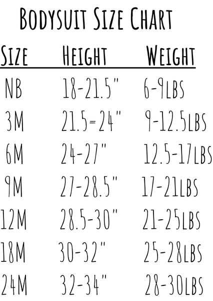 Theba Outfitters Bodysuit Onesie Size Chart