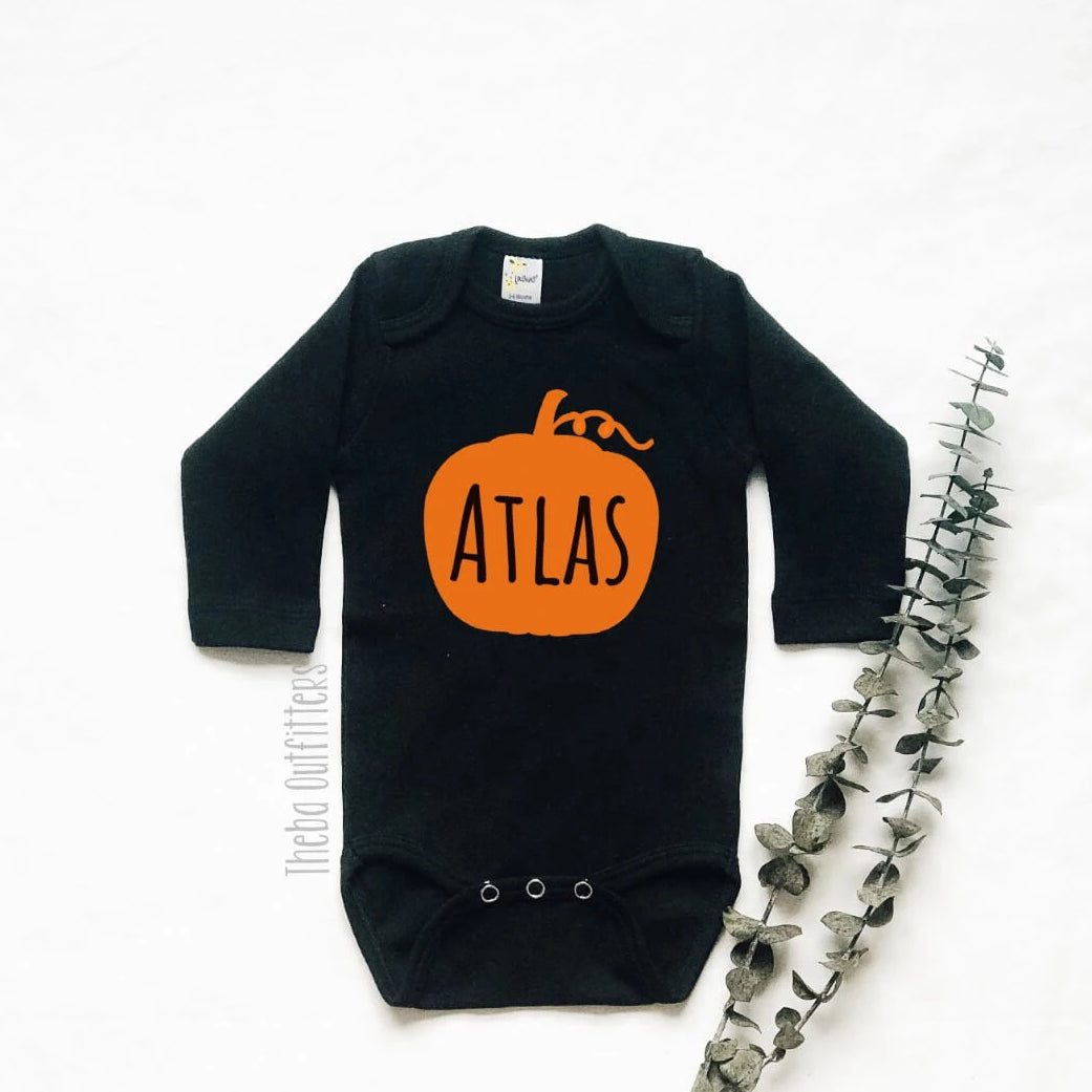 Pumpkin Name Onesie Tee Shirt Halloween Baby Infant Toddler Theba Outfitters
