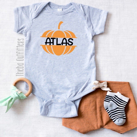 Fall Pumpkin Name Onesie/Tee