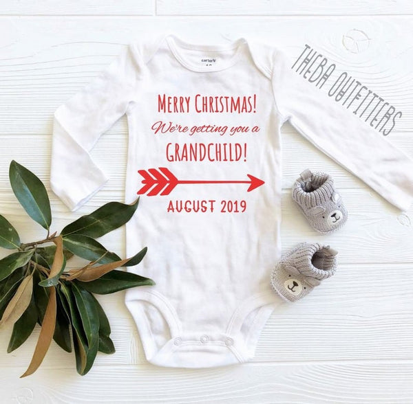 Grandparents Pregnancy Announcement Onesie - Christmas Reveal