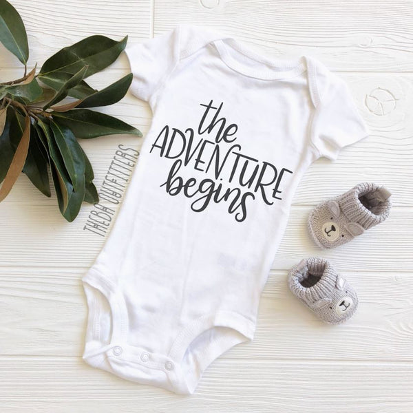 'The Adventure Begins' - Pregnancy Announcement Onesie