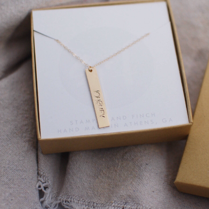 Emily. Customized Vertical Gold Bar Necklace