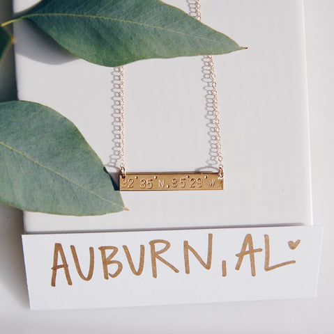 Auburn, AL Coordinate Gold Bar Necklace