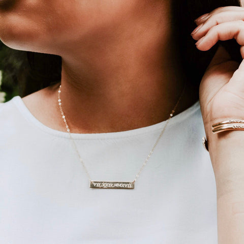 DeLaine. Customized Gold Bar Necklace