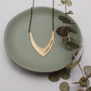 Katherine. Brass V Necklace