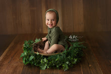 6-12 months size romper and bonnet, Green, Pre order