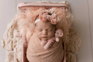 Baby newborn girl velvet bow tieback, peach, plush, soft, big RTS