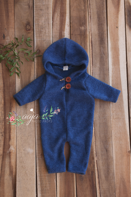 Baby Newborn romper, hooded, blue, buttons, Ready to send