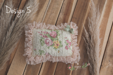 Vintage newborn posing pillow, patchwork, floral, lace, cream, pink, green, bow