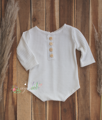Baby romper, 6-12 months size, white neutral, pre order