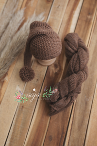Brown, knitted stretch wrap and slouch hat set, newborn baby, pom pom, pre order