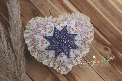 Posing pillow, blue, lace, vintage style, heart, valentine, RTS