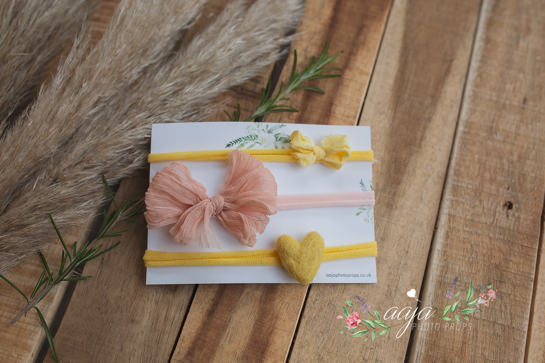 Newborn Sitter girl tiebacks set of 3, bows, yellow, lemon, heart, blush, RTS