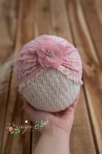Baby turban hat, lace, sitter 6-9, 9-18 months size, pink, RTS