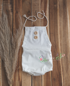 Baby 9-12 or 6-9 months size off white romper, buttons, RTS