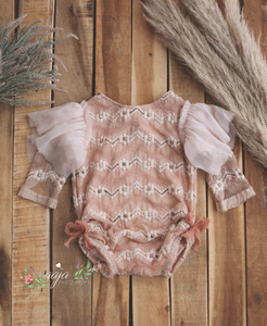 9-12 months size baby romper, lace, vintage style, blush pink, dusky, RTS