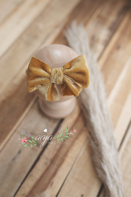 Baby newborn girl velvet bow tieback gold yelow, soft, big RTS