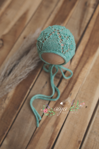 Knitted Baby newborn bonnet lace, green, sage, mint green, RTS