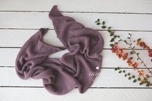 Baby newborn knitted wrap and bonnet set, plum, RTS
