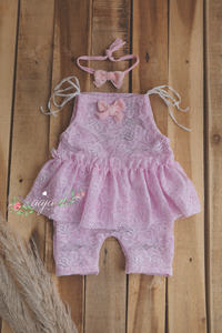 Baby 3-6 months size romper and Velvet bow tieback, RTS