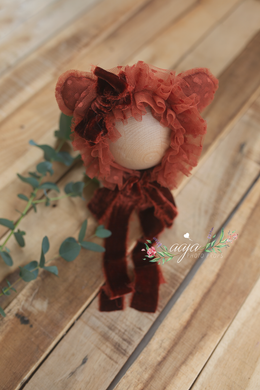 Baby girl newborn bonnet, frilly, rust, burnt orange, velvet, ears, bear, RTS