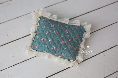 Newborn Posing pillow, sage, floral, dark, lace, vintage style, Photo prop RTS