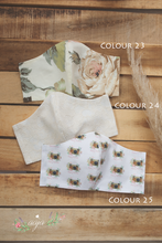 Fabric mask with lining pocket, various colours, floral, pre order