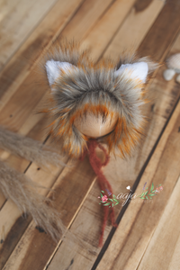 Baby newborn fox bonnet and wrap set, burnt orange, rust pre order