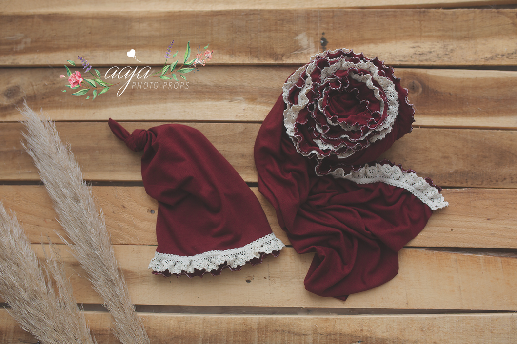 Baby newborn girl wrap and hat set, frilly, stretch jersey wrap, dark burgundy red, pre order