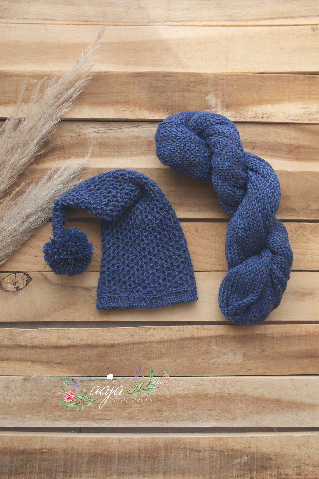 Blue knitted stretch wrap and slouch hat set, newborn baby, pom pom, RTS