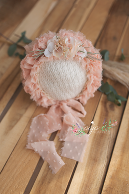 Baby 6-12 months size flower bonnet, frilly, peach, pink,  Ready to send