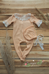 Baby Newborn girl pyjama romper and hat set, peach, lace, footed, RTS