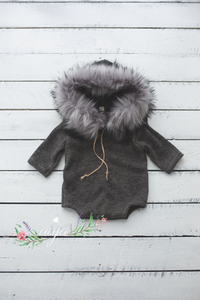 Baby 9-12 months sitter romper, neutral, faux fur, hooded, eskimo, grey,  pre order