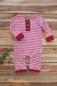 Baby Christmas romper, striped, red, buttons, Long sleeve, 9-12, Photo prop, RTS