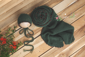 Green knitted stretch Long alpaca wrap and bonnet with beads set, RTS
