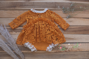 6-12 months size baby romper, lace, vintage style, yellow, RTS