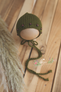Knitted Baby newborn bonnet olive green, beads, RTS
