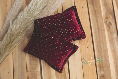 Velvet Newborn Posing pillow, burgundy red, gold dots, Photo prop RTS
