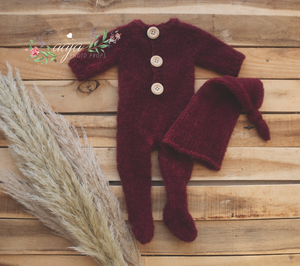 Baby newborn knitted footed romper and Santa hat, burgundy, Pre order