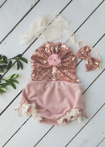 Baby 9-18 months size romper, headband set, lace, pink, rose gold, Made to order