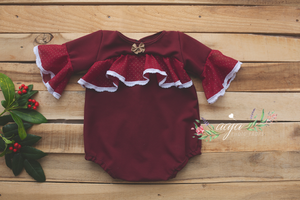 Baby girl Christmas romper, frilly, dark burgundy red, gold, 6-12, RTS