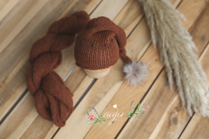 Rust brown, knitted long wrap and hat set, newborn baby, fur pom pom, RTS