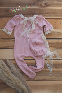 Baby Newborn girl pyjama romper and hat set, light pink, lace, footed, RTS