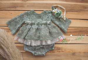 9-12 months size baby top/dress, nappy cover, headband set, lace, velvet, sage green, RTS