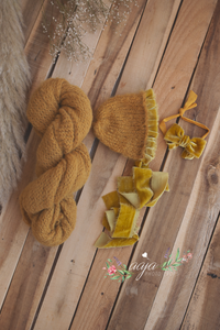 Baby newborn bonnet with velvet details, wrap, tieback set, mustard yellow, pre order