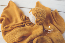 Yellow knitted stretch wrap and bonnet set for newborn girl, mustard, Photo prop
